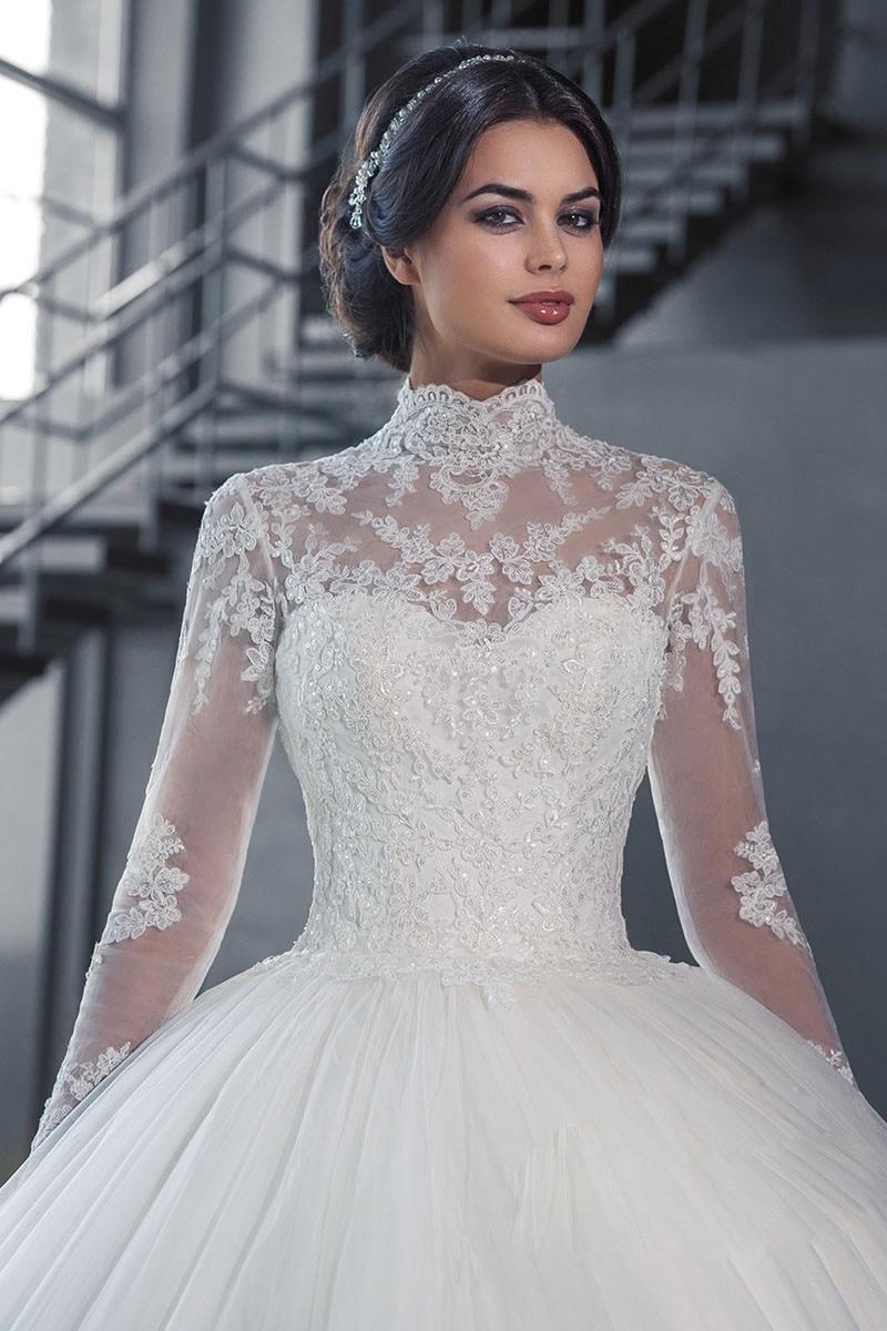 Vestidos 2019 Vintage High Neck Lace Trouwjurk Lange Mouwen Applicaties Casamento Prinses Bruids Jurk robe de mariage - 3
