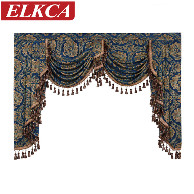 Jacquard Luxury Chenille Curtains Valances For Living Room European Top Bedroom Thick Curtain Pelmet