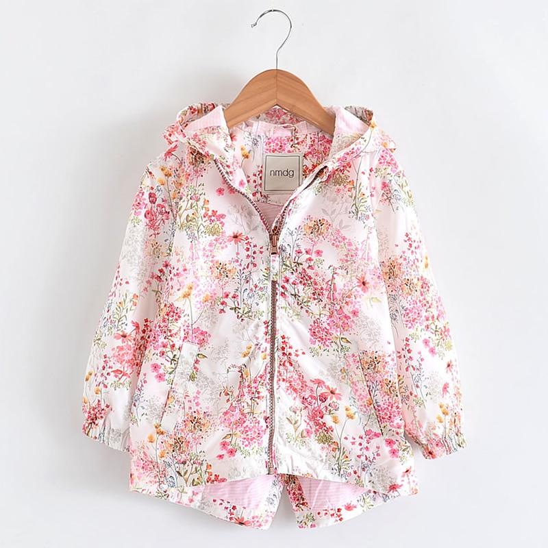 Spring Girls Jackets And Coats Hooded Flower Pattern Kids Windbreaker Baby Jacket Autumn Jacket For Girl Children Outerwear Coat