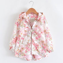 Spring Girls Jackets And Coats Hooded Flower Pattern Kids Wi