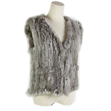 autumn and winter warm real rabbit fur vest womens Europe style weaving raccoon sheep eight