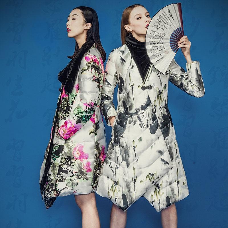 2015 Printed Ink Pattern Long Sleeve Loose Winter Down Coat Medium Long Down Jacket Women Plus Size Fashion Parkas w-1910