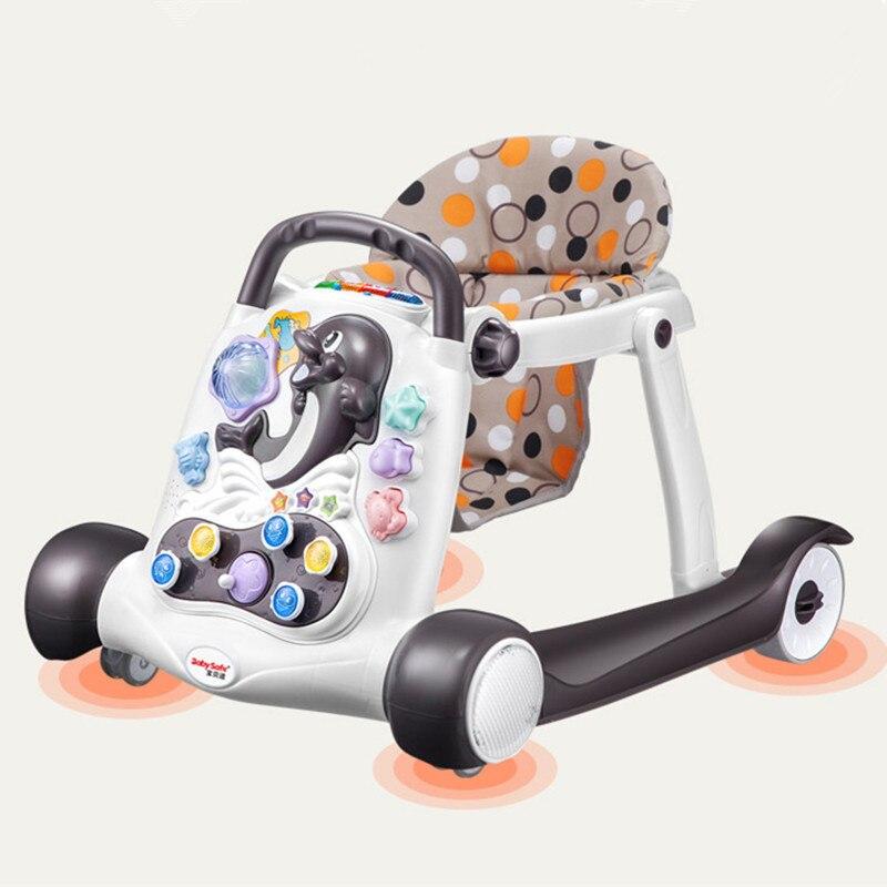 Sécurité bébé marcheur anti-retournement multi-fonction avec musique bébé 6/7-18 mois main pousser peut s'asseoir marcheur pour enfants 2018 chaud