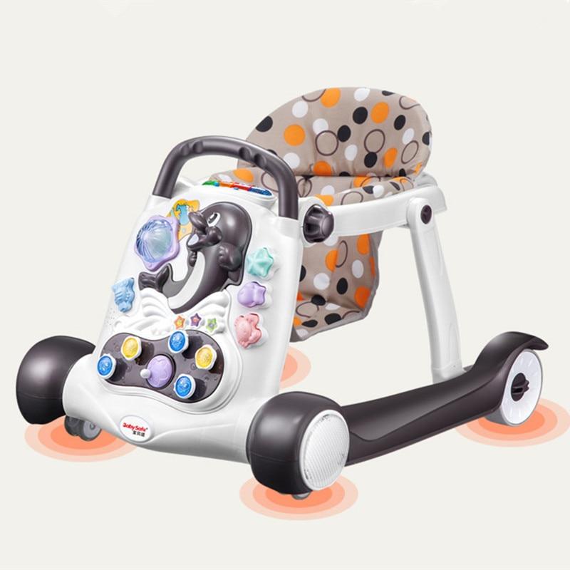 Sécurité bébé walker anti-roulis multi-fonction avec musique bébé 6/7-18 mois main poussoir peut s'asseoir enfants marcheur de 2018 chaude