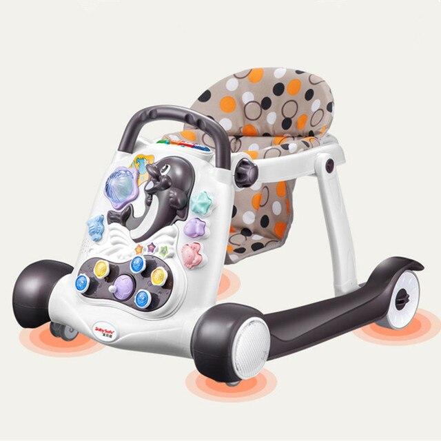 Seguridad bebé andador anti-rollover multifunción con música bebé 6/7-18 meses mano push can sit caminador para niños 2018 caliente