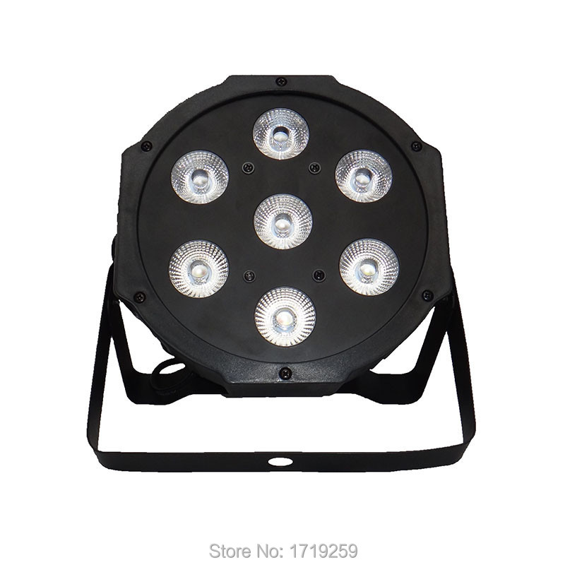 ФОТО 2017 LED Flat Par 7x 12W RGBW DMX Stage Lights Business Lights High Power Light with Professional for Party KTV Disco DJ