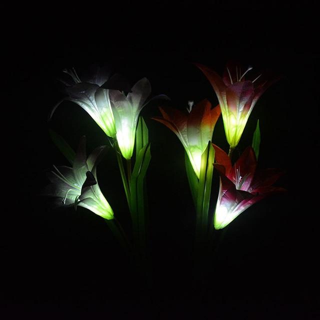 3 Heads solar lantern Flower Lily LED simulation decorative outdoor lawn lamp 3 Flower Lilies Solar Garden Lamp