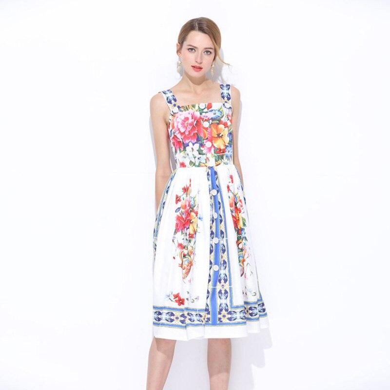De D'été Sexy Gaine Robe Femmes Robes 2018 Bouton Courroie Flroal Piste Imprimé Vêtements Genou Élégant Designer longueur 6Xx67dq