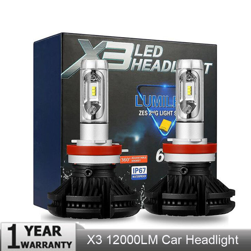 X3 9005 H11 H4 H7 Led H1 Auto Car Headlight 50W 12000LM IP67 Automobile Bulb All In One CSP Lumileds Lamp