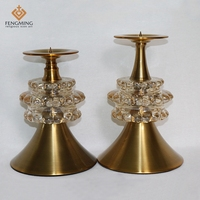 2pcs Set Classic Metal Glass Votive Candle Holders High Quality Candlestick Patterns Craft Stores Cheap Home