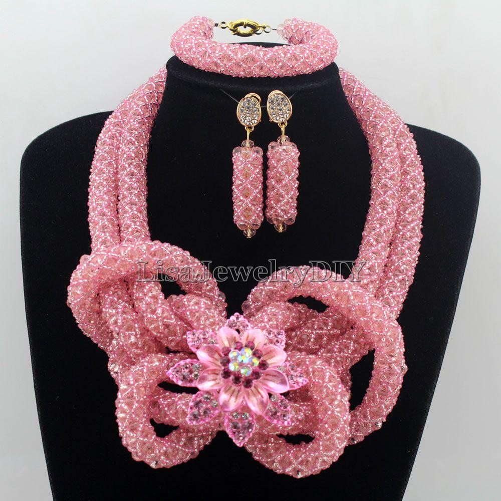 Stylish Nigerian Wedding African Beads Jewelry Set Handmade Indian Dubai Bridal Necklace Sets Free Shipping HD7489
