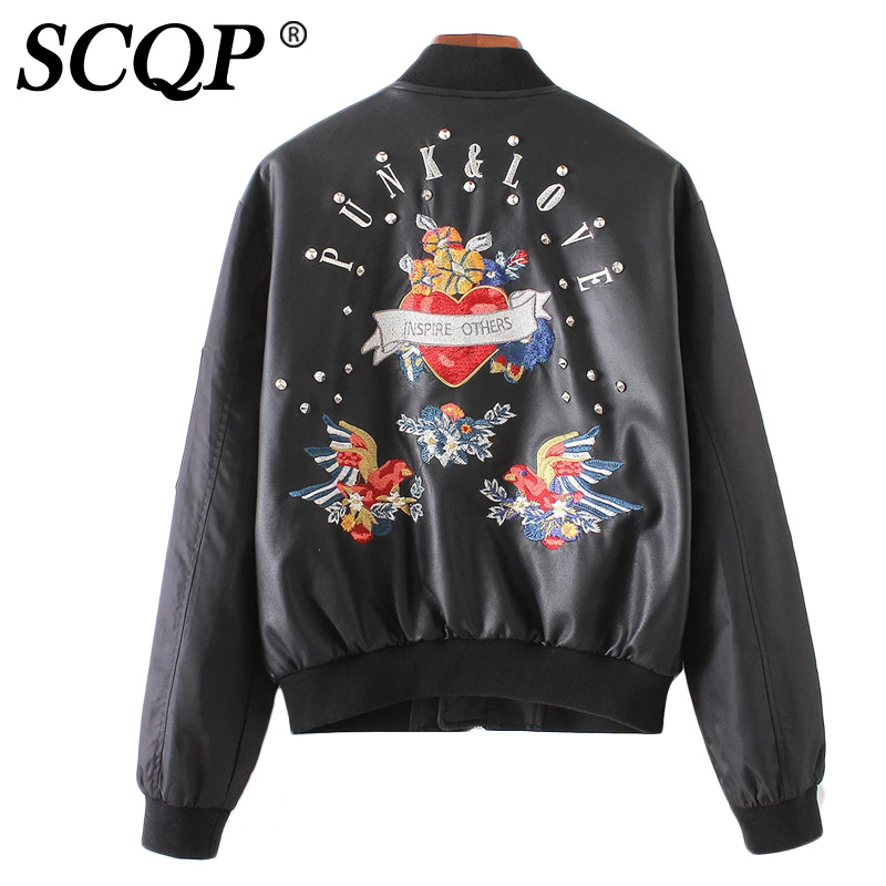 Rivet floral embroidered fall jackets women birds letter