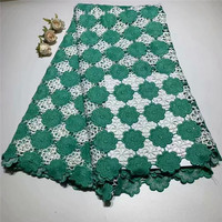 Cotton lace embroidered African french lace net tulle fabric with stone lace borders High quality 5 yards ZQ022629