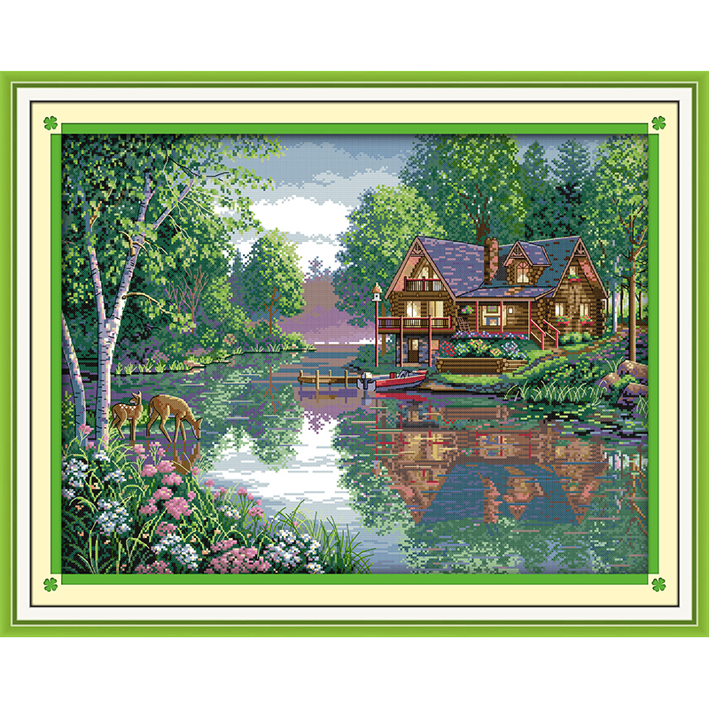 Everlasting love Leisure hut Chinese cross stitch kits Ecological cotton stamped printed 11 14CT DIY  Christmas decorations gift