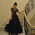 Dubai Árabe Zuhair Murad Negro Vestidos de Noche Con Mangas Cortas 2017 Rebordear Partido Formal de Baile Vestido Elegante vestidos de fiesta