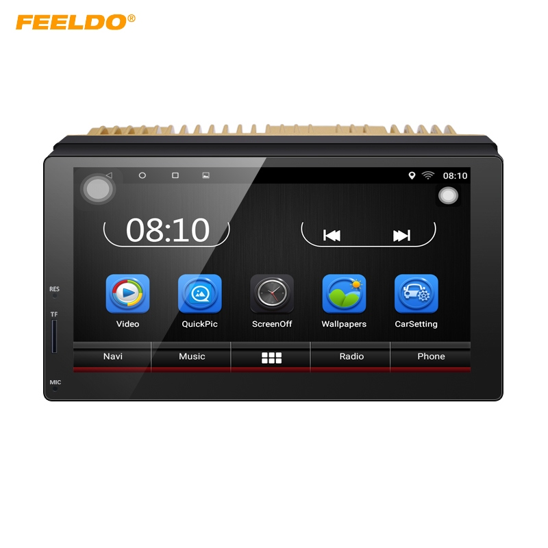 FEELDO 1024*600 7inch Ultra Slim Android 6.0 Quad Core For Nissan/Hyundai 2DIN ISO Car Media Player With GPS Navi Radio +Gift feeldo 7inch android 4 4 2 quad core car media player with gps navi radio for nissan hyundai universal 2din iso gift am3900