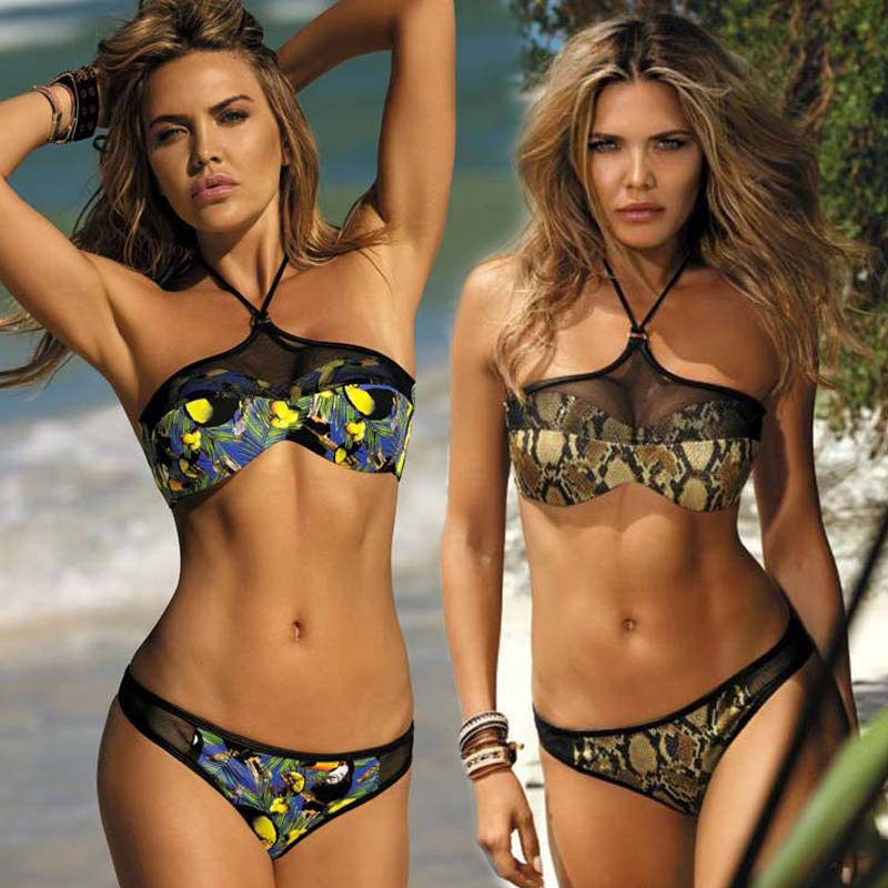 <font><b>Bikini</b></font> Set Swimwear Swimsuit Women <font><b>Bikini</b></font> 2019 <font><b>Sexy</b></font> Female <font><b>Push</b></font> <font><b>Up</b></font> Lace Leopard Print Snake Skin Black Backless Frenulum image
