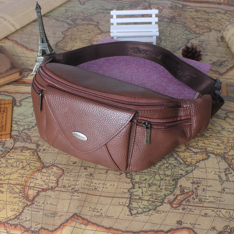 все цены на Genuine Leather Belt Waist Bag Men Travel Phone Pouch Wallet Fashion Brand Messenger Shoulder Bags Fanny Pack Chest Bag For Male