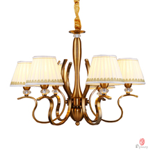 Art Decorative Chandelier Pendant Lamp Europe Style Antique Brass Fabric Shape Living Dinning Room Foyer Home Lighting Fixture