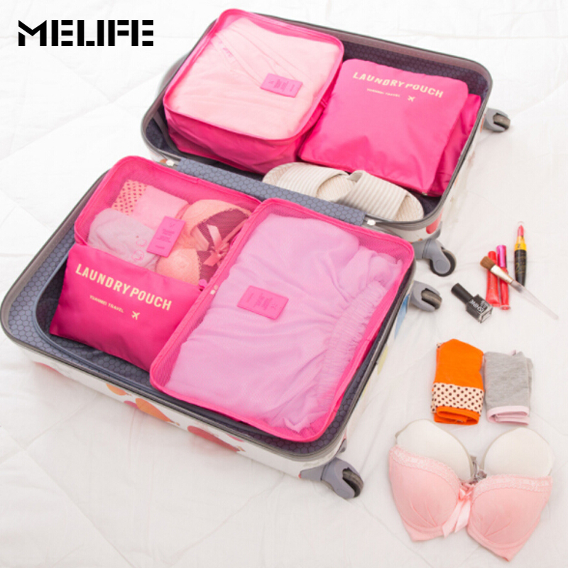 melife 6 pçs/set cubos de Function 3 : Luggage Bag High-quality Double Zipper Waterproof Polyester tipo Pacote