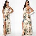 Vestidos De Festa Summer Beach Maxi Dress Bohemian Boutique Plus Size Women Clothing  Chiffon Floral Casual  2015 Robes Femmes