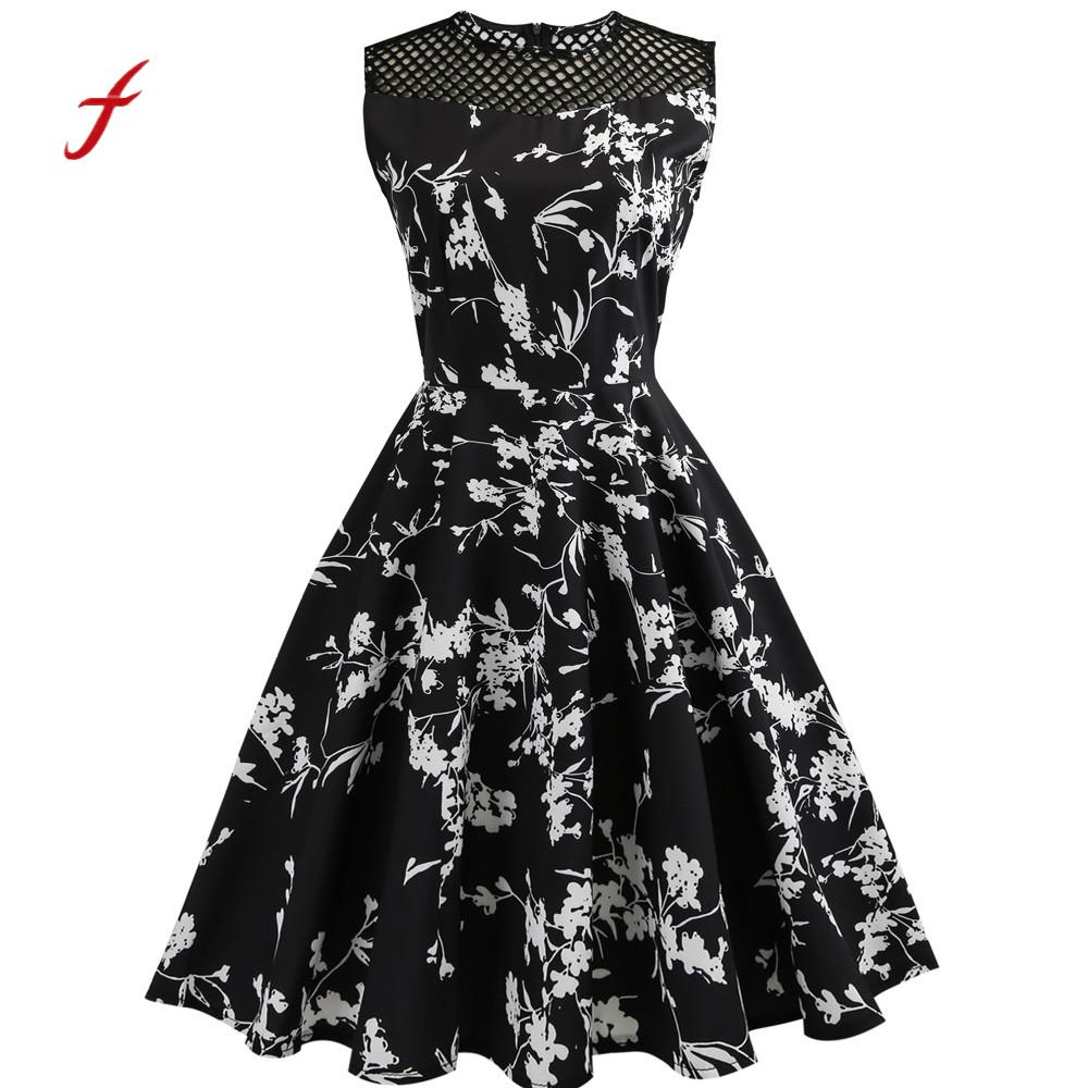 Feitong Floral Print Women Spring Summer Dress Hepburn 50s 60s Vintage Bodycon Sleeveless O Neck Casual