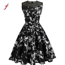 Feitong Floral Print Women Spring Summer Dress Hepburn 50s 60s Vintage Bodycon Sleeveless O Neck Casual Party Prom Swing Dress