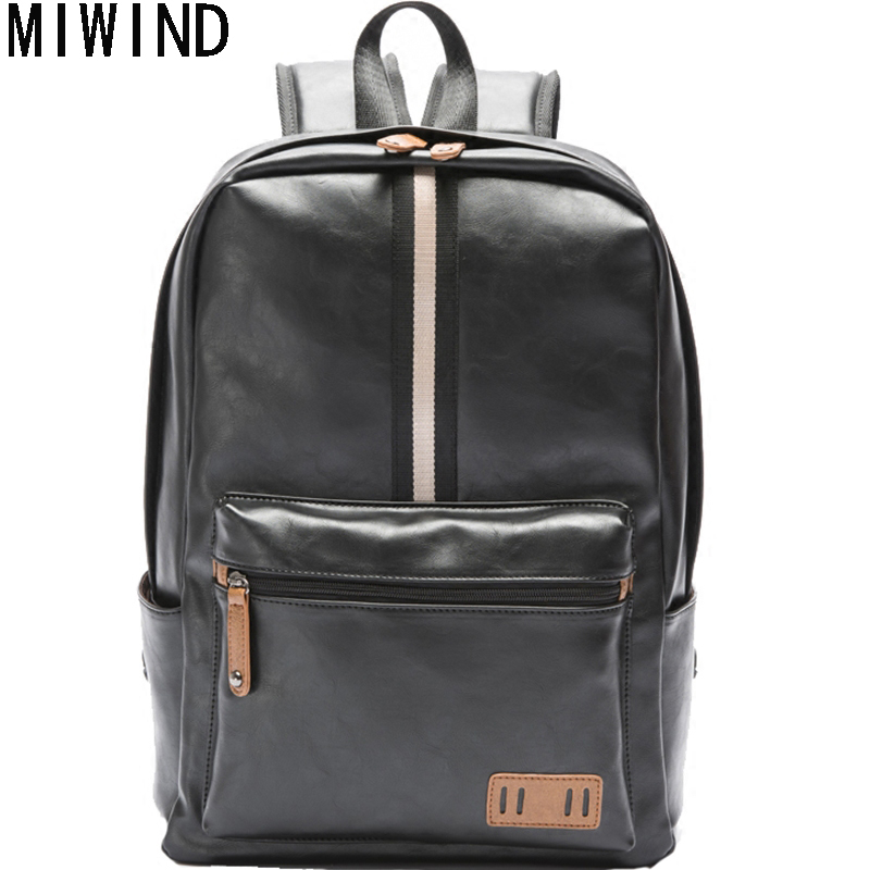 MIWIND Brand NEW Pretty Style PU Leather Backpack Fashion Male Casual Boys School Shoulder bags for Men's Backpack  TSP1080 miwind famous brand preppy style leather school backpack bag for college simple design travel leather backpack bags tlj1082