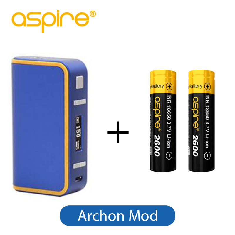 Electronic Cigarette Box Mod Aspire Archon 150W TC Mod Temperature Control + 2pcs 18650 2600mAh Vape Battery Included 2pcs new original lg hg2 18650 battery 3000 mah 18650 battery 3 6 v discharge 20a dedicated electronic cigarette battery power