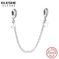 ELESHE Luxury 925 Sterling Silver Moon Star Safety Chain Beads Charm Fit Original Bracelet Bangle Authentic Silver Jewelry