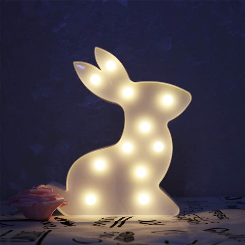 Cute Rabbit LED Night Light Children Baby Kids Bedside Lamp White Battery Opeed Nightlight