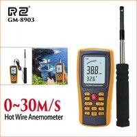 RZ Anemometer Digital Wind Speed Meter Sensor Hot Wire Anemometers 0 30m/S Digital LCD Anemometer Wind Meter Wind Speed Sensor