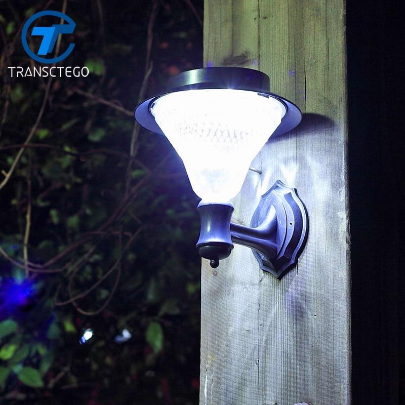 TRANSCTEGO 24 LED solstråle solpaneler trädgårdsvägg Lampa utomhus Vattentät Super Bright Garden Street Gräsmatta luminaria