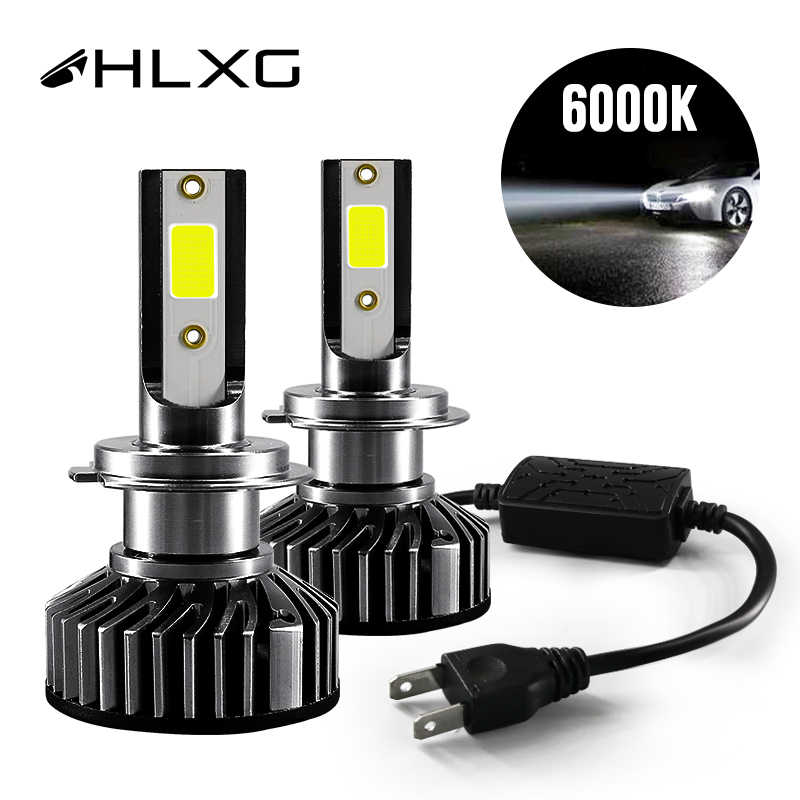 HLXG Mini H4 luces H7 LED Far lamp Car Headlight 12V 10000LM H11 9005 HB3 9006 HB4 H8 4300K 5000K 6000K 8000K Bulb Accessories