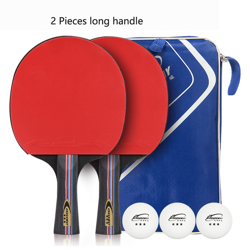 2 pcs/lot Raquette De Tennis De Table Raquette Longue Manche Court Ping-Pong Paddle Raquette Ensemble Avec Sac 3 Boules Double Visage Boutons dans