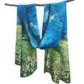 TRIGAL 160x45 cm Wholesale 2017 Más Nuevo Bufandas de Seda, China crepe bufanda rectángulo digital pintura famosa bufanda