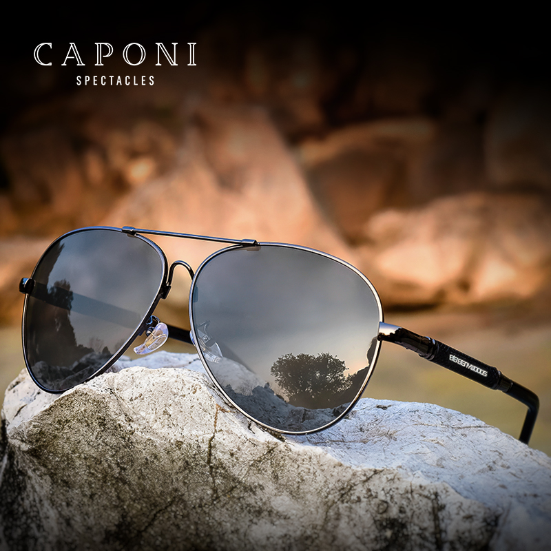 Caponi Men Vintage Stainless Polarized Sunglasses Classic Brand Sun glasses Coating Lens Driving Shades For Men/Wome BS9812