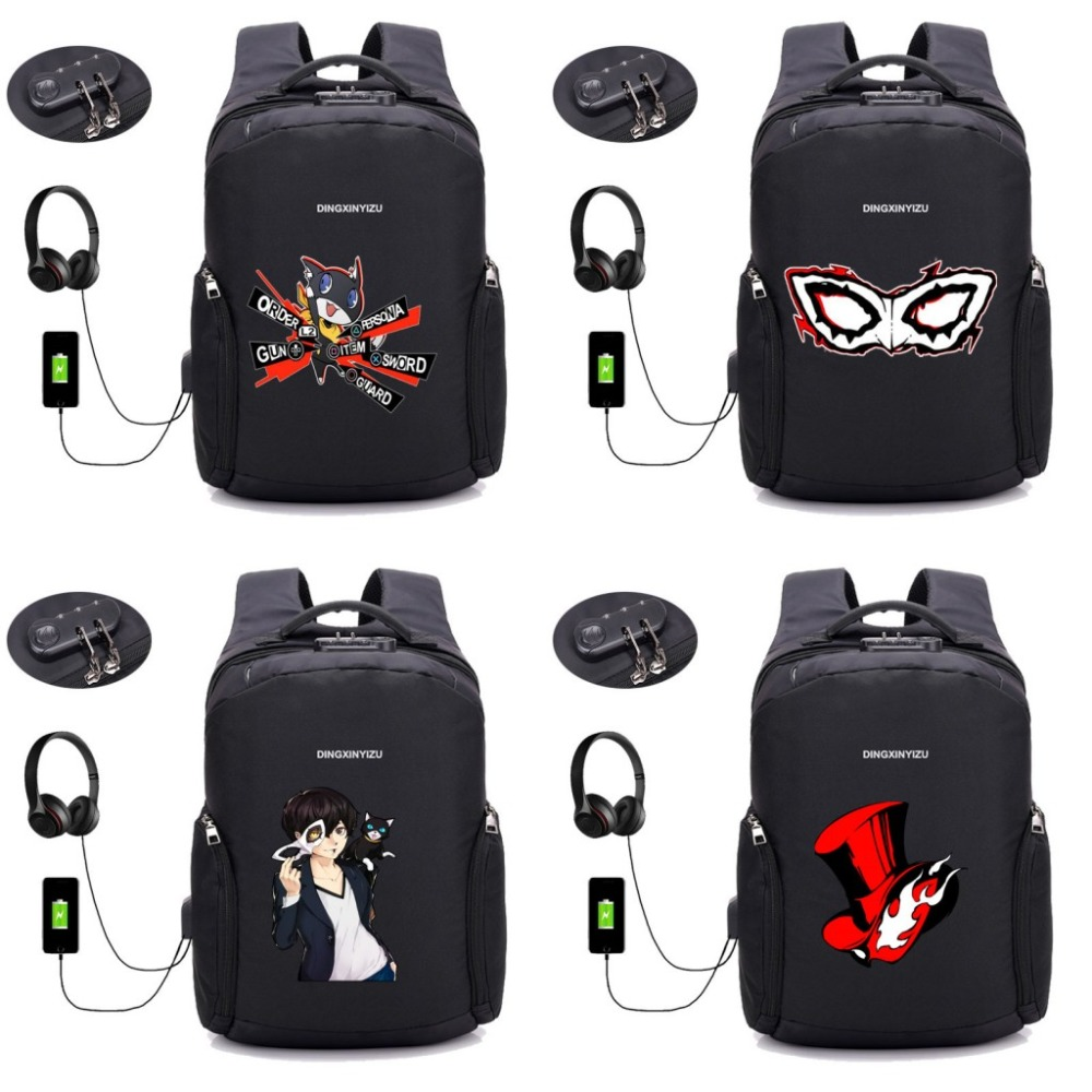 Game Persona 5 backpack Anti-theft USB Charging Travel Backpack Men Women Business School Multifunction Laptop bag 16 style