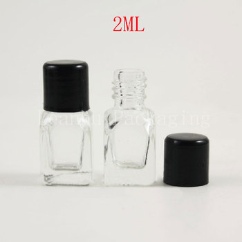 2ml Transparent Glass Bottles With Black Screw Cap ,2cc Perfume/Water Sample Bottle,Empty Cosmetic Container (Free Shipping)