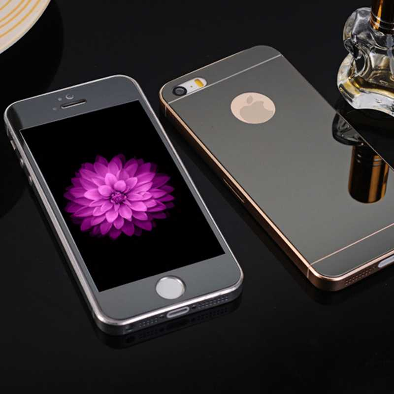 for iPhone 4 4s 5 5s SE 6 6S Plus 0.28mm 2pcs Front+Back Tempered Glass Full Cover Mirror Effect Color Protective Film NO LOGO