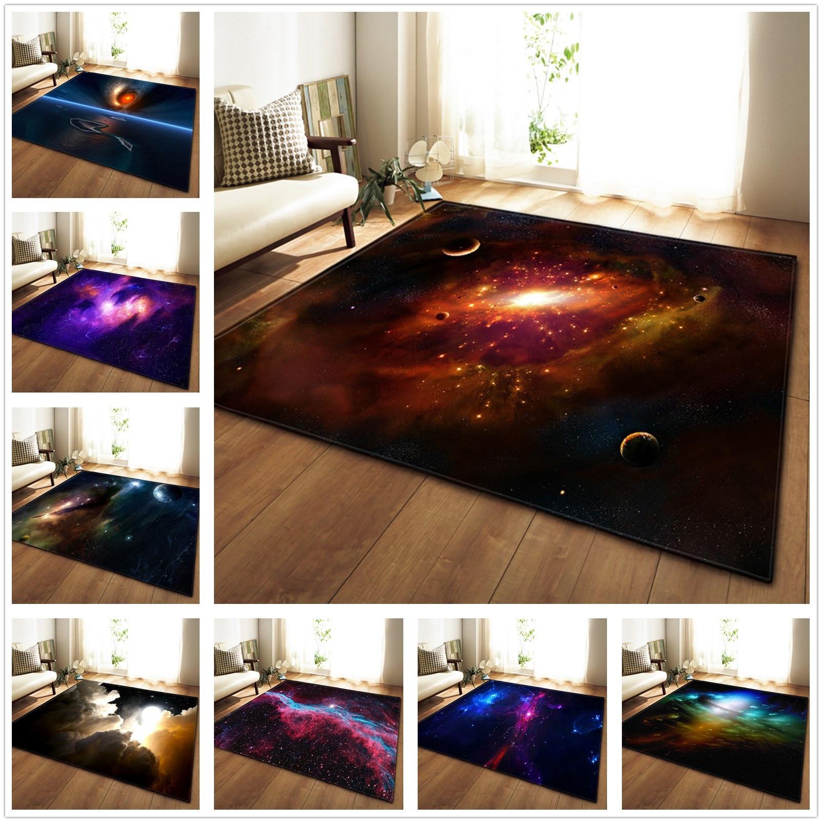 Tapis créatif univers 3D ciel étoilé motifs brillants tapis pour salon chambre chaise tapis de Table 12 couleurs salfombra