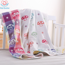 все цены на Herbabe Ins Hot Baby Blankets 100% Cotton Gauze Baby Wrapping Quilt Soft Kids Car Blanket Newborn Infant Air Conditioning Quilts онлайн