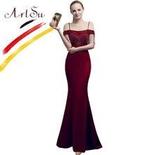 Женское платье Русалка до пола artsu черное облегающее вечернее