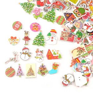 25pcs Mix Cartoon Christmas Pattern Wooden Buttons Scrapbooking Crafts For DIY Sewing Clothes Handmade Apparel Accessories M2516
