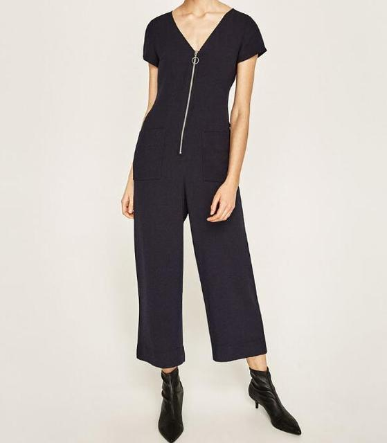 WISHBOP Fashion 2017 NEW Woman Navy blue CROPPED JUMPSUIT WITH ZIP V-neck  short sleeves Front Waist bow Belt detail 880557787fa4