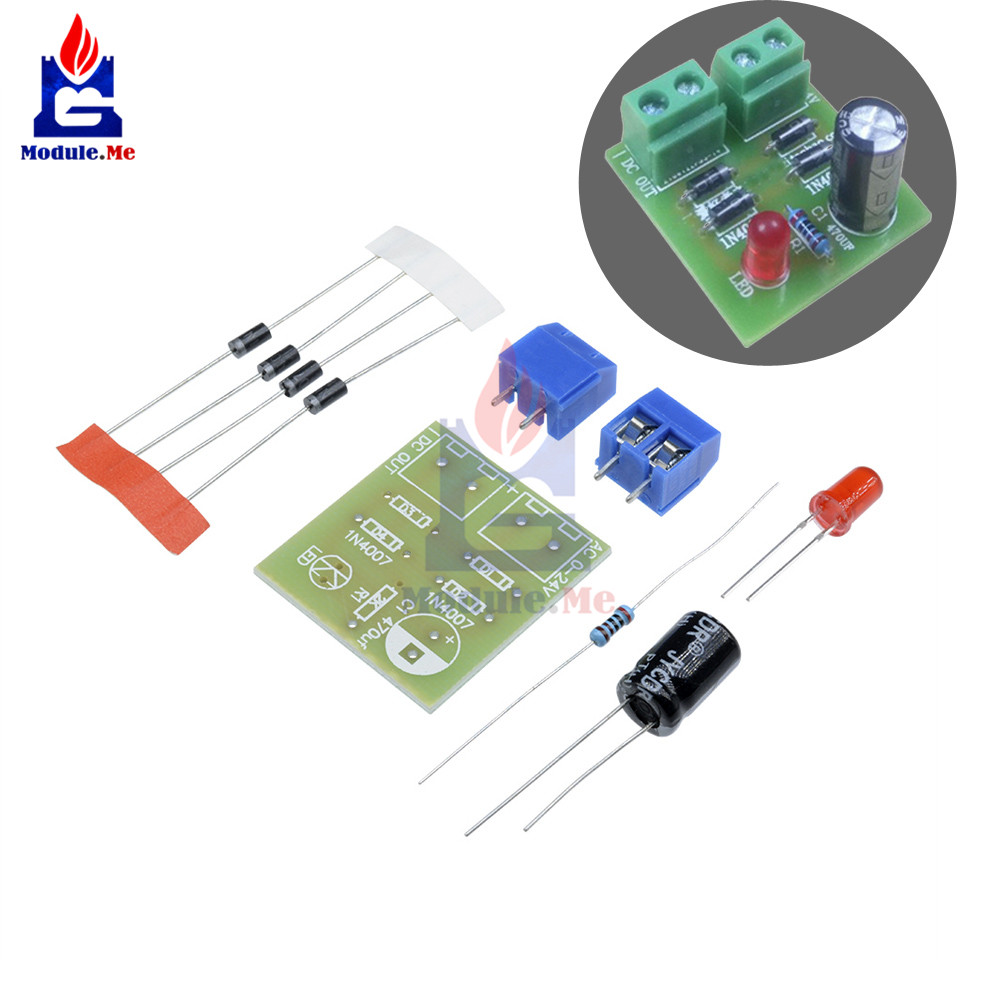 5pcs Lot Diy Kits In4007 Full Wave Bridge Rectifier Circuit Board Series With Buzzer And Switch Also Ac To Dc Kit Converter Parts Electronic