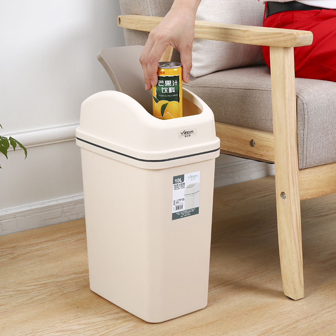 iTECHOR Plastic Trash Can 6L Swivelling Cover Practical Trash Cans Kitchen Living Room Organizer Flip Top kitchen Garbage Bin