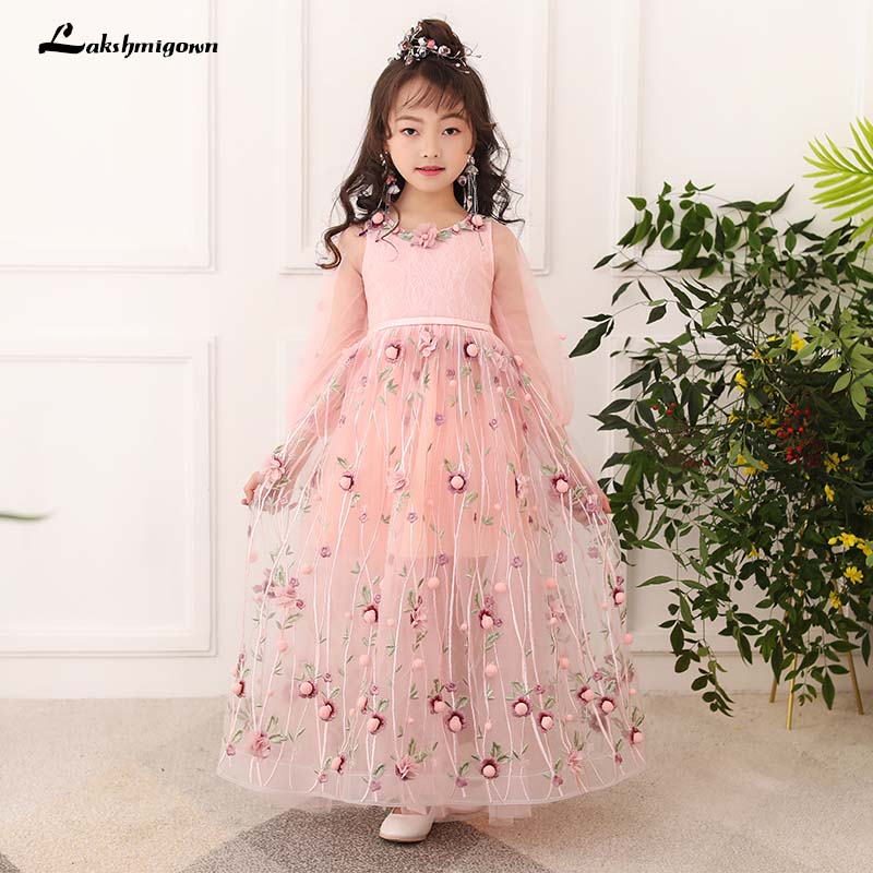 2018 Ball Gown Lace first communion dresses for girls Appliques Lace ...