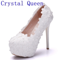 Crystal Queen New Platform Beautiful Pearl Lace White Wedding Shoes Women Pumps Party Dance Sexy High