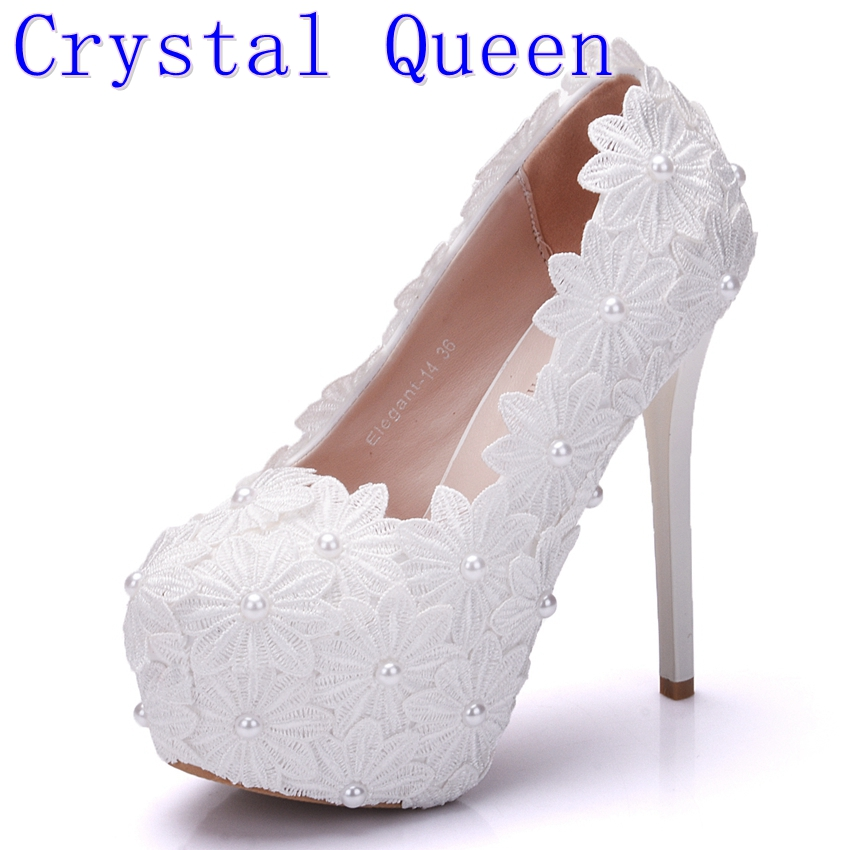 цены Crystal Queen New Platform Beautiful Pearl Lace White Wedding Shoes Women Pumps Party Dance Sexy High Heeled Shoes 8/10/12/14 CM